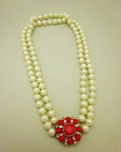 Carolee Glass Pearl Red Flower with Crystal Charm Party Necklace