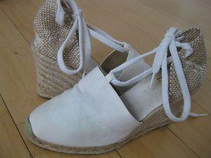 Castaner White Espadrille Sandal Wedge Shoes 37 US 7