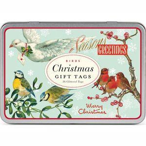 Cavallini Company Gift Tags Birds Christmas Glittered in Tin GT CHRBRD