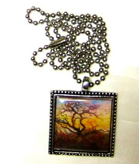 Altered Art Vintage Friedrich The Tree of Crows Raven Tree Pendant
