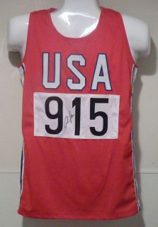 Carl Lewis Autographed Signed Red Olympic USA Jersey w JSA