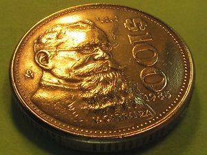 CARRANZA 100 PESO LARGE BRASS MEXICAN COIN Combine shipping 1 to 8