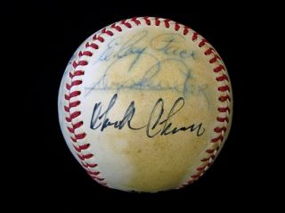 Carl Erskines Old Timers Day Team Signed Baseball w/Jim Gilliam