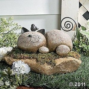 New Stone  Cat Garden Statue Outdoor Yard Decor **