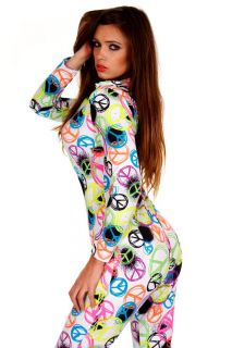 Contagious Clubwear Nicki Minaj Catsuit Costume Fancy Dress Peace