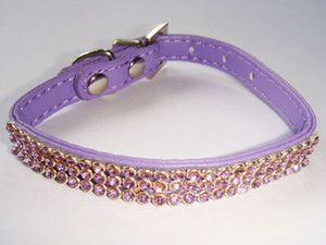 NEW Bling purple dog cat puppy supplies pets gift rhinestone cute