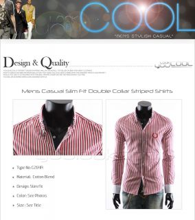 Youlookcool Mens Slim Fit Casual Double Collar Red White Striped Dress