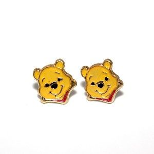 14K Pure Solid gold Enamel Cartoon Character Winnie The Pooh screw
