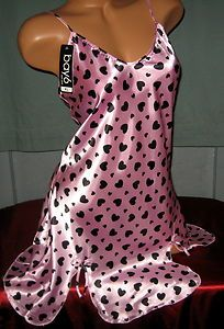 Carnation Pink Black Hearts Chemise M L Short Gown Nighty Nightgown