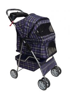 BestPet Blue Plaid 4 Wheel Pet Dog Cat Stroller Free Rain Cover