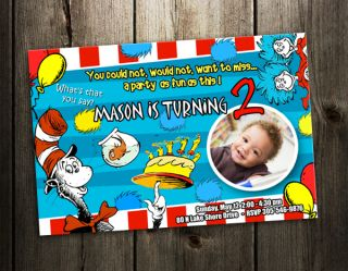 DR. SEUSS CAT IN THE HAT BIRTHDAY PARTY INVITATION CARD CUSTOM INVITE