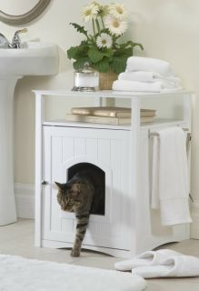 NEW White Pet House Cat Litter Box Cover Wood Night Stand Furniture