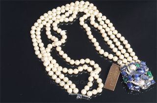 Carolee Lux Silver Tone Four Row Pearl Crystal Multicolored Stone