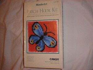 NEW CARON BLUE BUTTERFLY PAPILLON MARIPOSA LATCH HOOK KIT VERY PRETTY