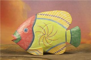 Colorful Hand Carved Wooden Fish Hand Painted Decorative Sculpture
