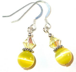 SWAROVSKI CRYSTAL Elements & CATSEYE Sterling Silver Earrings Jonquil