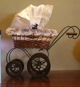 High Profile Victorian Style Doll Baby Carriage Fram