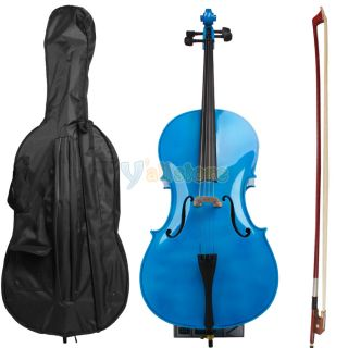 full size cello with bow rosin case blue