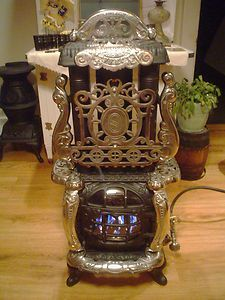 1895 Cast Iron Gas Propane Parlor Stove Original Triple Effect No 3