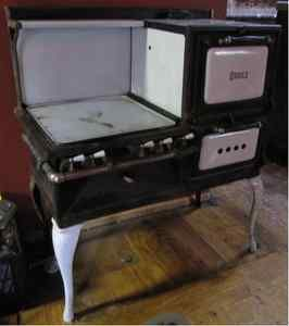 Antique Vintage Oriole Cast Iron Porcelain Gas Stove Oven