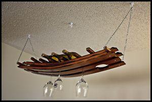 Hanging Wine Glass Bottle Rack Made From Oak Barrel Stave 16