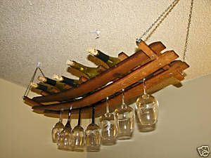 Hanging Wine Glass Bottle Rack Oak Barrel Stave 12