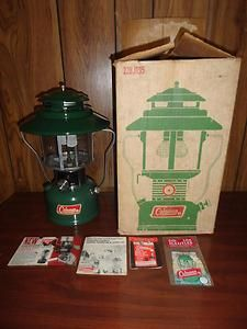 Vintage COLEMAN Lantern 228 Camping Light Gear w Paperwork BOX