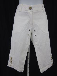 Flavio Castellani White Cotton Capri Pants Slacks Sz 40