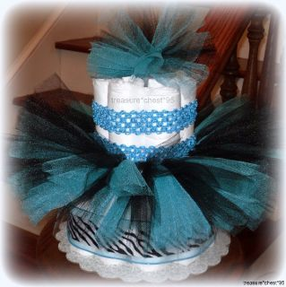 Blue Zebra Tutu Diaper Cake Baby Shower Centerpiece Matching Headband