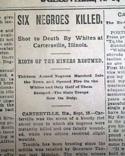1899 Old Newspaper Carterville IL Illinois Coal Mine Race Riot Negroes