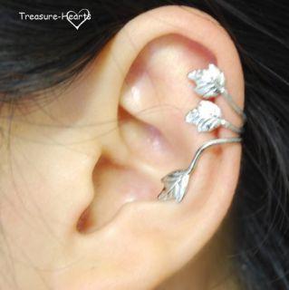 Antique Vintage Leaf Flower Cartilage Ear Cuff Wrap Earring 1P