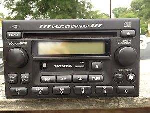 2002 Honda Accord 6 disc CD player Radio Cassette Used Factory