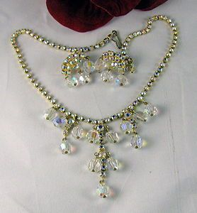 AB Rhinestone Crystal Necklace Clip on Earrings Set Cat Rescue