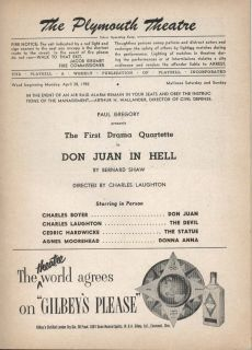 Juan in Hell Playbill 4/28/52 Charles Boyer Laughton Cedric Hardwicke