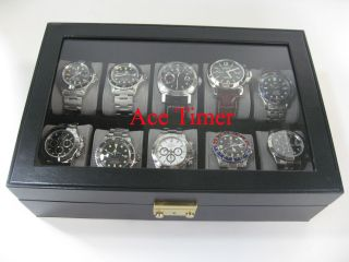 10 watch Clear Top Faux Leather Display Case Box + Free Polishing