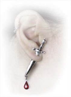 Alchemy Gothic Cesares Veto Pewter Crystal Dagger Earring