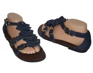 Brand New Navy Blue Denim Jean Ruffle Silver Buckle Womens Sandal