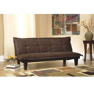 Futon Brown Faux Suede Couch Sofa Lounge Chair Bed Convertible NEW