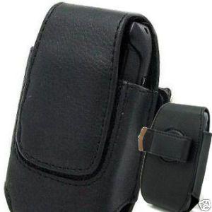 Black Leather Cell Phone Case Slim Vertical D02V3