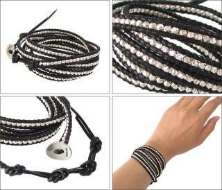 Chan Luu Sterling Silver & Black Leather Wrap Bracelet