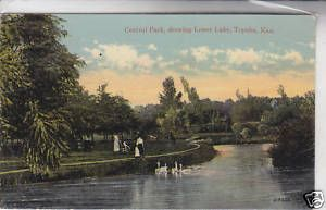 Central Park Showing Lower Lake Topeka KS Postcard