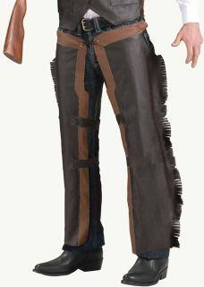 Adult Faux Leather Western Costume Chaps Lone Ranger Brown