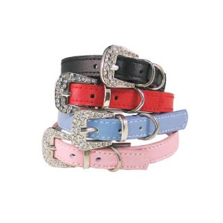Dog and Cat Leather Collar w/ Rhinestone Buckle   Pink   8 in.