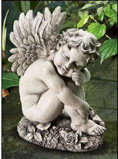 Weeping Angel Cherub Garden Cemetery Memorial Statue