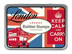 Cavallini Co London Wooden Rubber Stamp Set