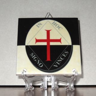 In Hoc Signo Vinces Ceramic Tile Knights Templar Masonic Mason