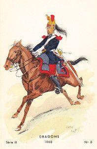 1868 Dragons French Army Cavalry Uniform Art Card
