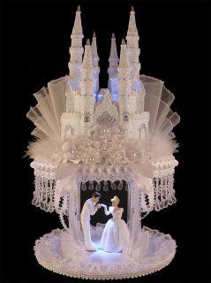 Lighted Cinderella Castle Wedding Cake Topper with Cascading Swarovski