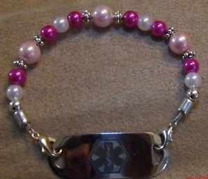 Pastel & Hot Pink+White) Beaded Medical Tag Bracelet / Deco. Watch