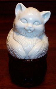 PERSIAN KITTEN CAT IN A BASKET FIGURINE PERFUME BOTTLE TRINKET BOX